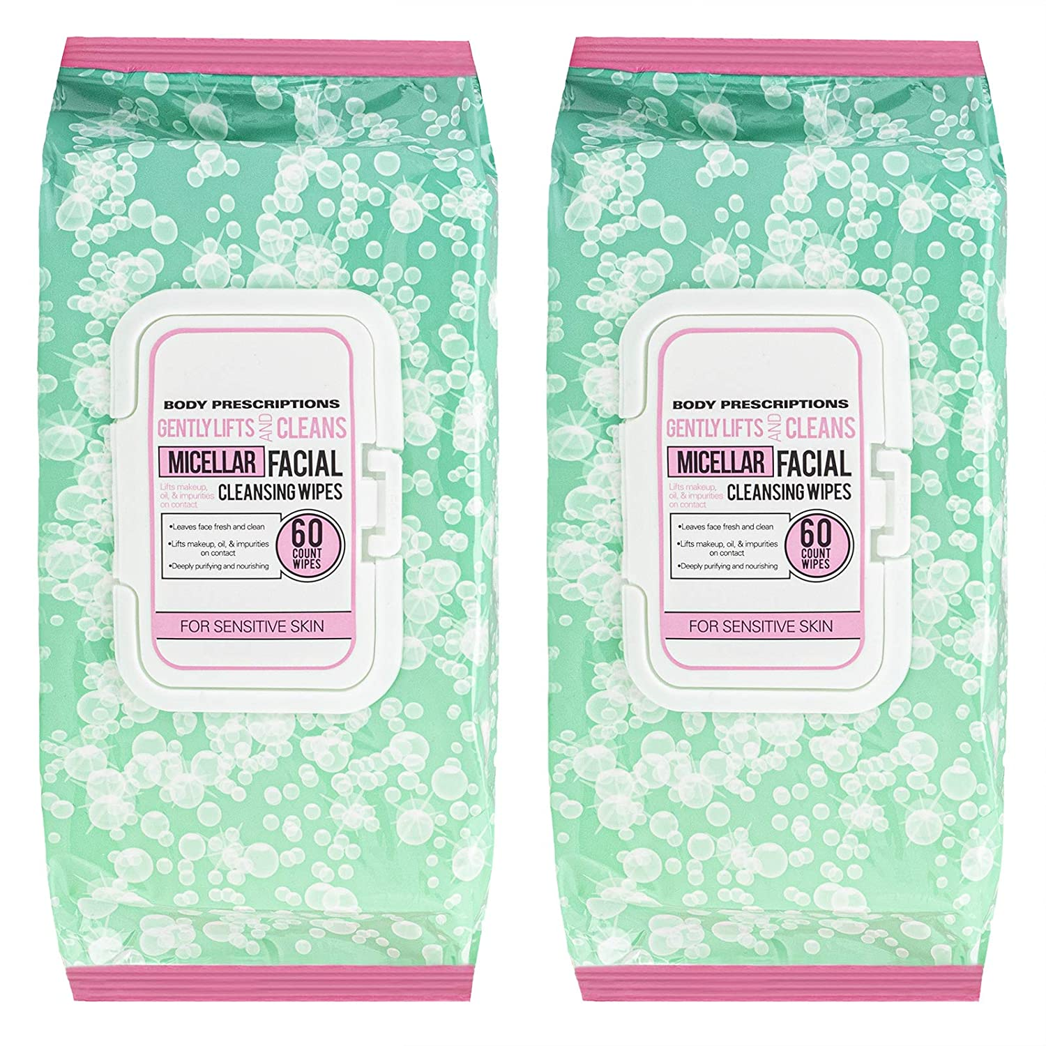 Body Prescriptions - 2 Pack (60 Count Each) Fresh and Clean Micellar Facial Cleansing Wipes