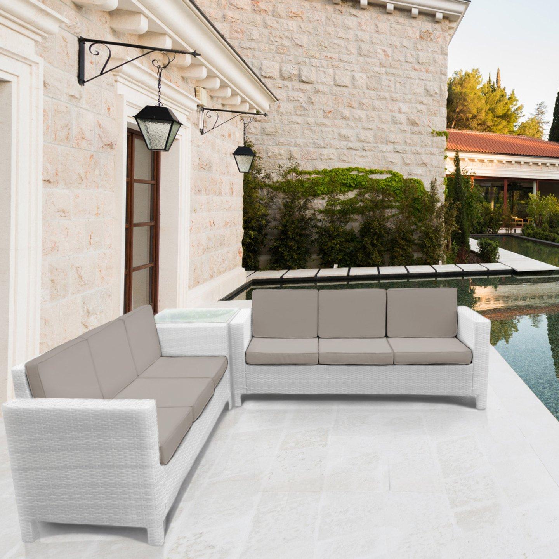 Luxurygarden® afef ratán Asiento Grupo Lounge Esquina Blanco sofá Juego de 3 plazas sofá sofá Cesta Muebles de Jardín: Amazon.es: Jardín