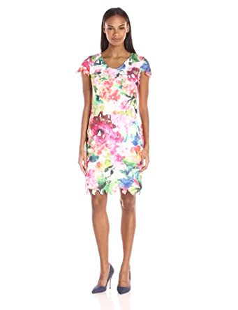 d4d19525 Donna Ricco Women's Short-Sleeve Printed Lace Dress, Pink/Ivory, ...