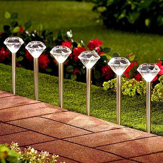 10 farolillos Solalite® solares para jardín, luces LED, con diseño de diamante y soporte de acero inoxidable: Amazon.es: Hogar