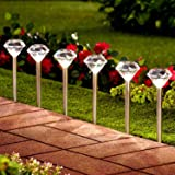 Solalite® 10 Pack Stainless Steel Solar Diamond Stake Lights LED Garden Lanterns