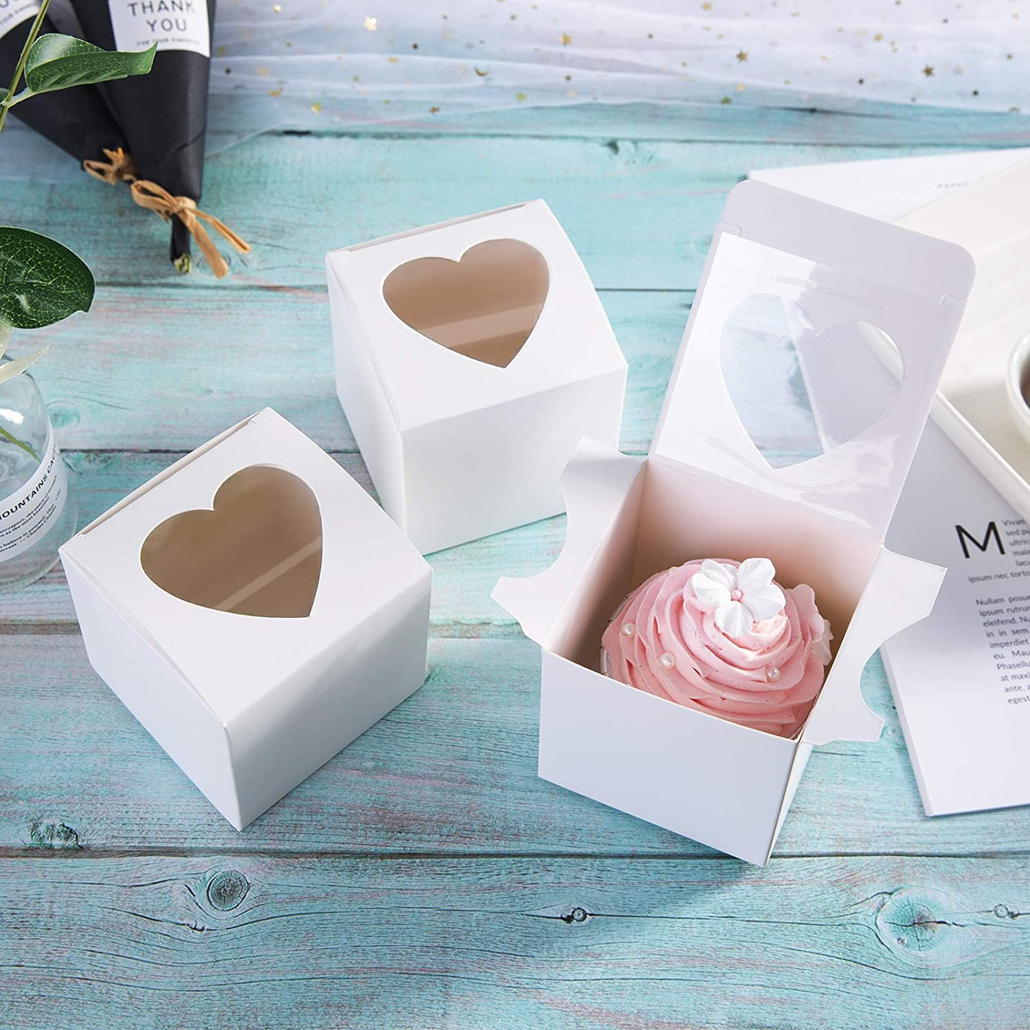 ONE More Heart Mini Cupcake Boxes with PVC Window 24 of Pack /…