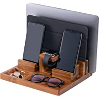 WUTCRFT - Wood Charging Station/Nightstand Organizer for Multiple Devices Including Phone, Smart Watch, Laptop, Tablet…