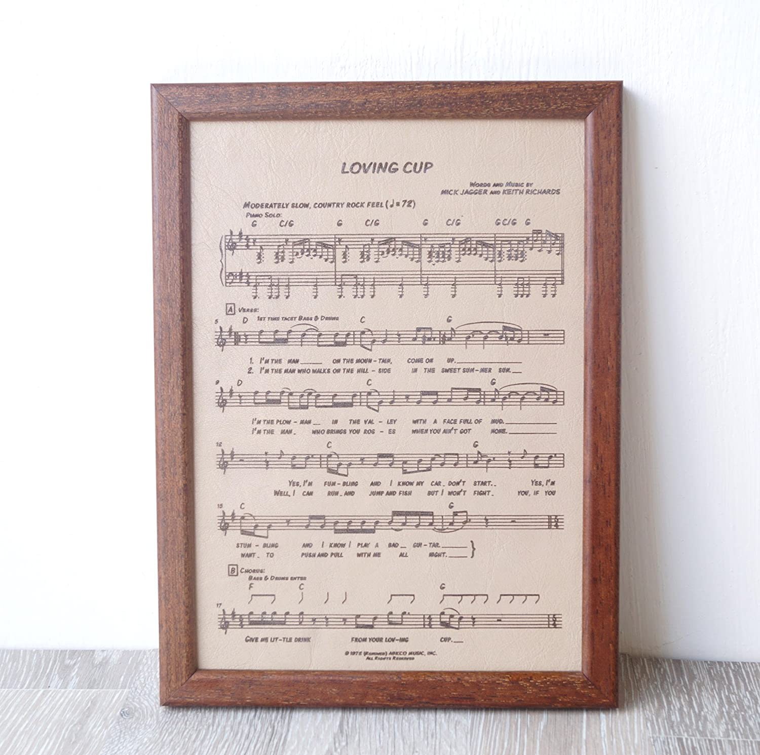Amazon com: Leather engraving, music notes sheet engraved on real