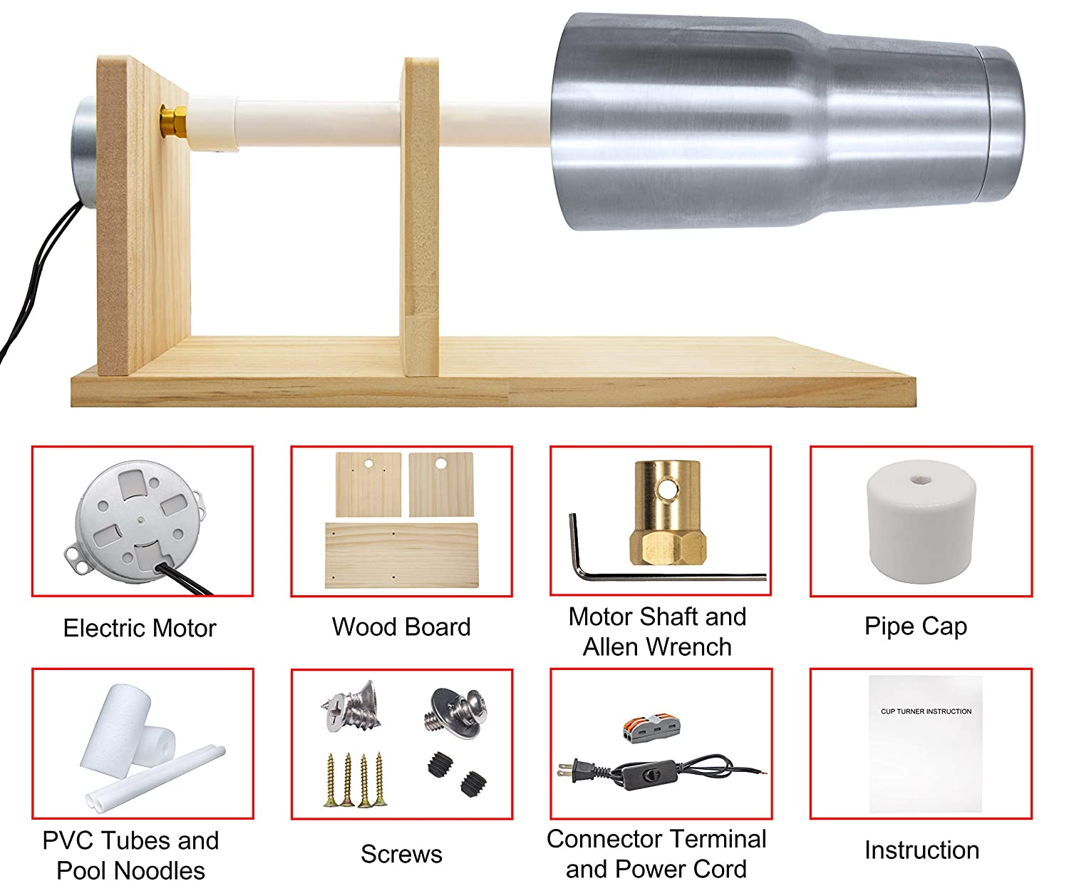 Cup Turner Kit for Personalize Tumbler Crafts Cuptisserie Cup Turners for Tumblers Comes with 2 Wands and 2 Foams Electric Tumbler Spinner with Rotisserie Motor