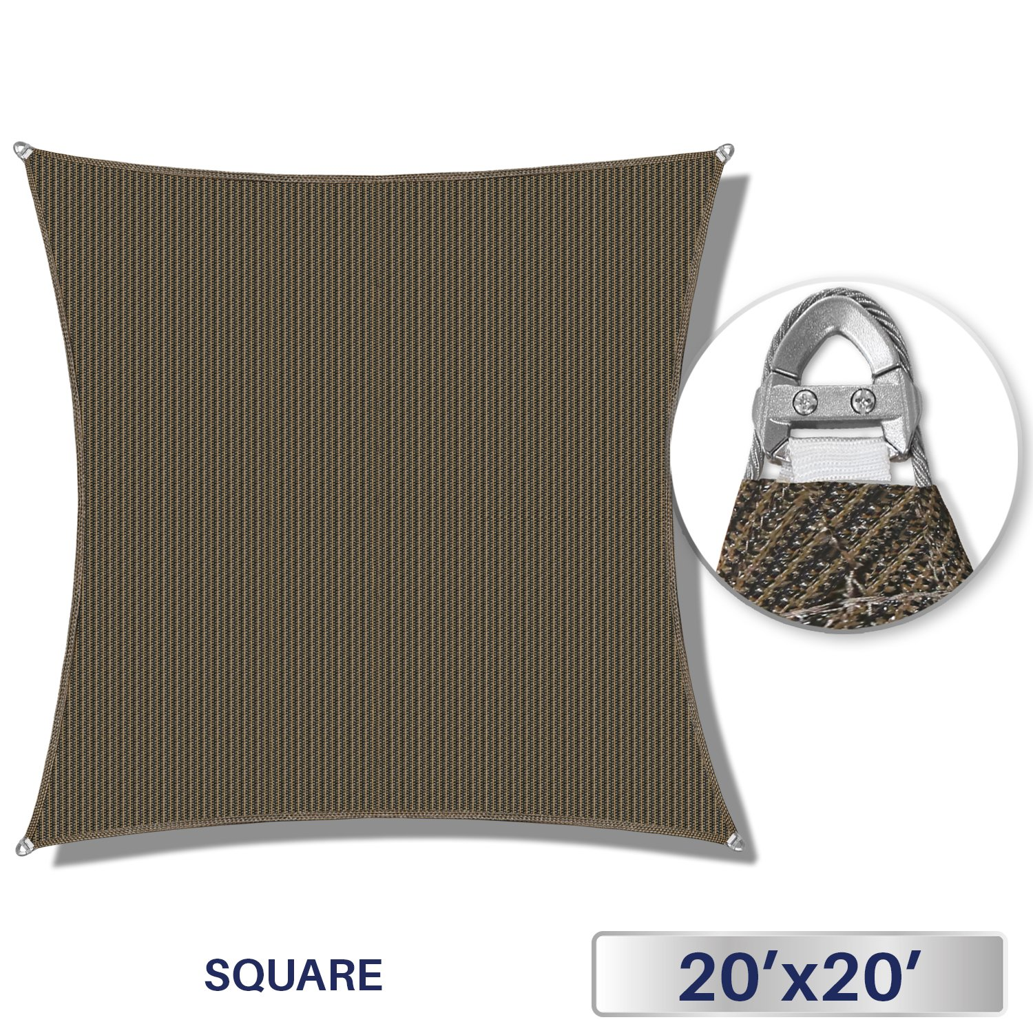 Windscreen4less A-Ring Reinforcement Large Sun Shade Sail 20' x 20' Rectangle Super Heavy Duty Strengthen Durable(260GSM)-Galvanized Cable Enhanced - Brown / 7 Year Warranty