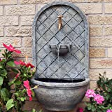 Sunnydaze Messina Outdoor Wall Fountain, with Electric Submersible Pump 26-Inch Tall, French Limestone Finish