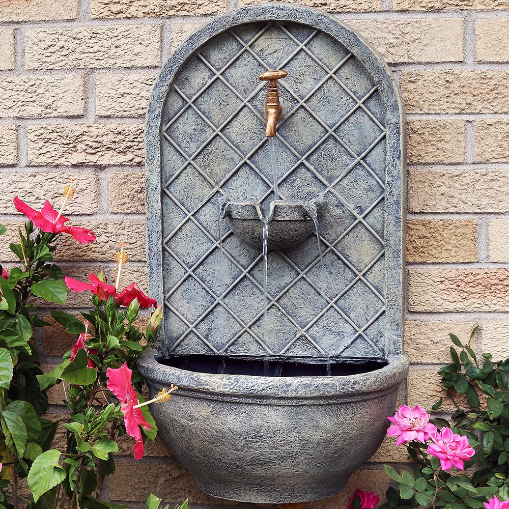 Sunnydaze Messina Outdoor Wall Fountain, with Electric Submersible Pump 26-Inch, French Limestone Finish