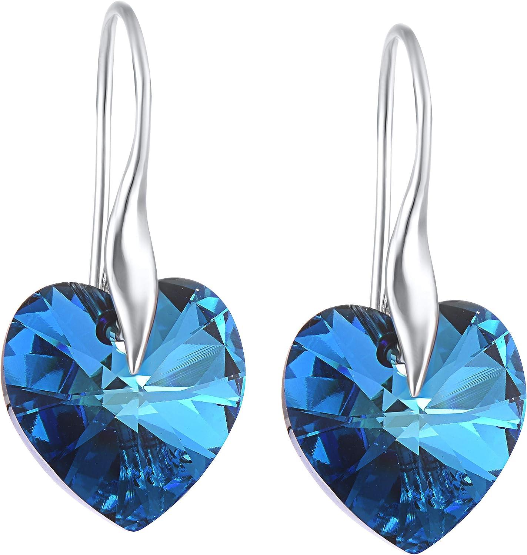 Pendientes colgantes de plata de ley 925 con cristales de Swarovski en forma de corazón azul, modernos y elegantes, regalo de cumpleaños o Navidad
