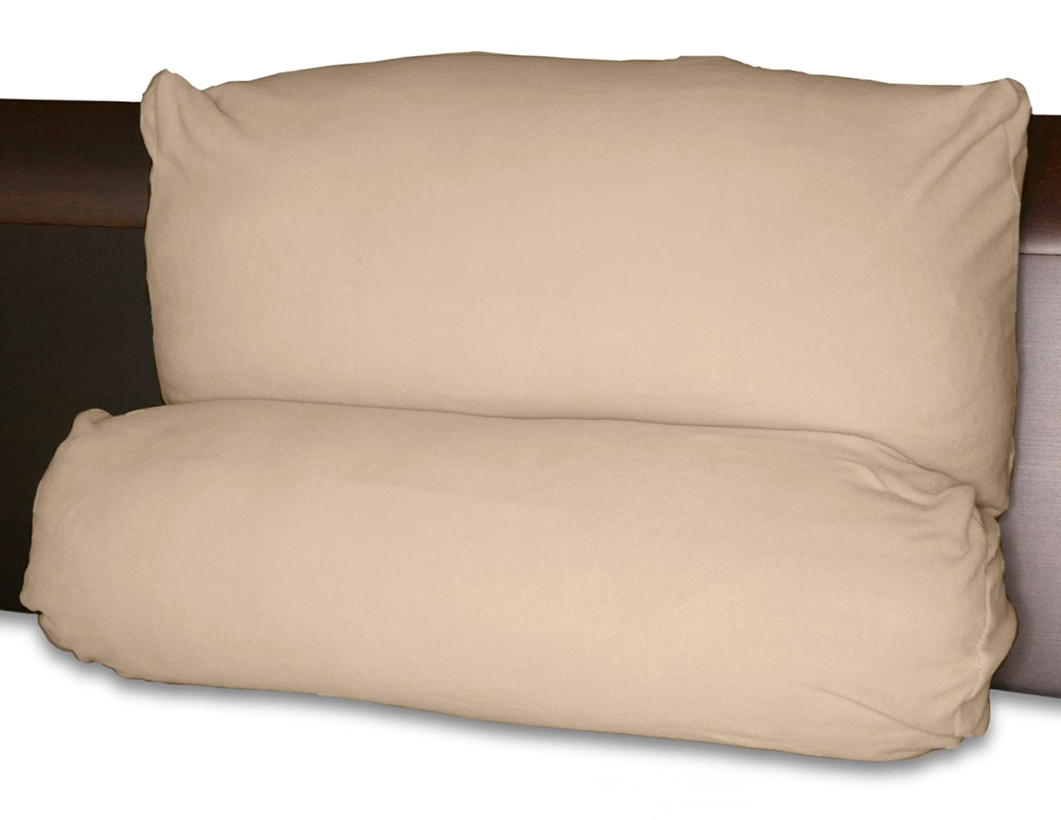 Multi-Positional Back Pillow - with Extra Tan/Taupe Micro Fiber Cover Microfiber Cover - Best Two-Piece Lounge Pillows while Reading or Watching TV Deluxe Comfort MLTPP-001-01_TAN_PA