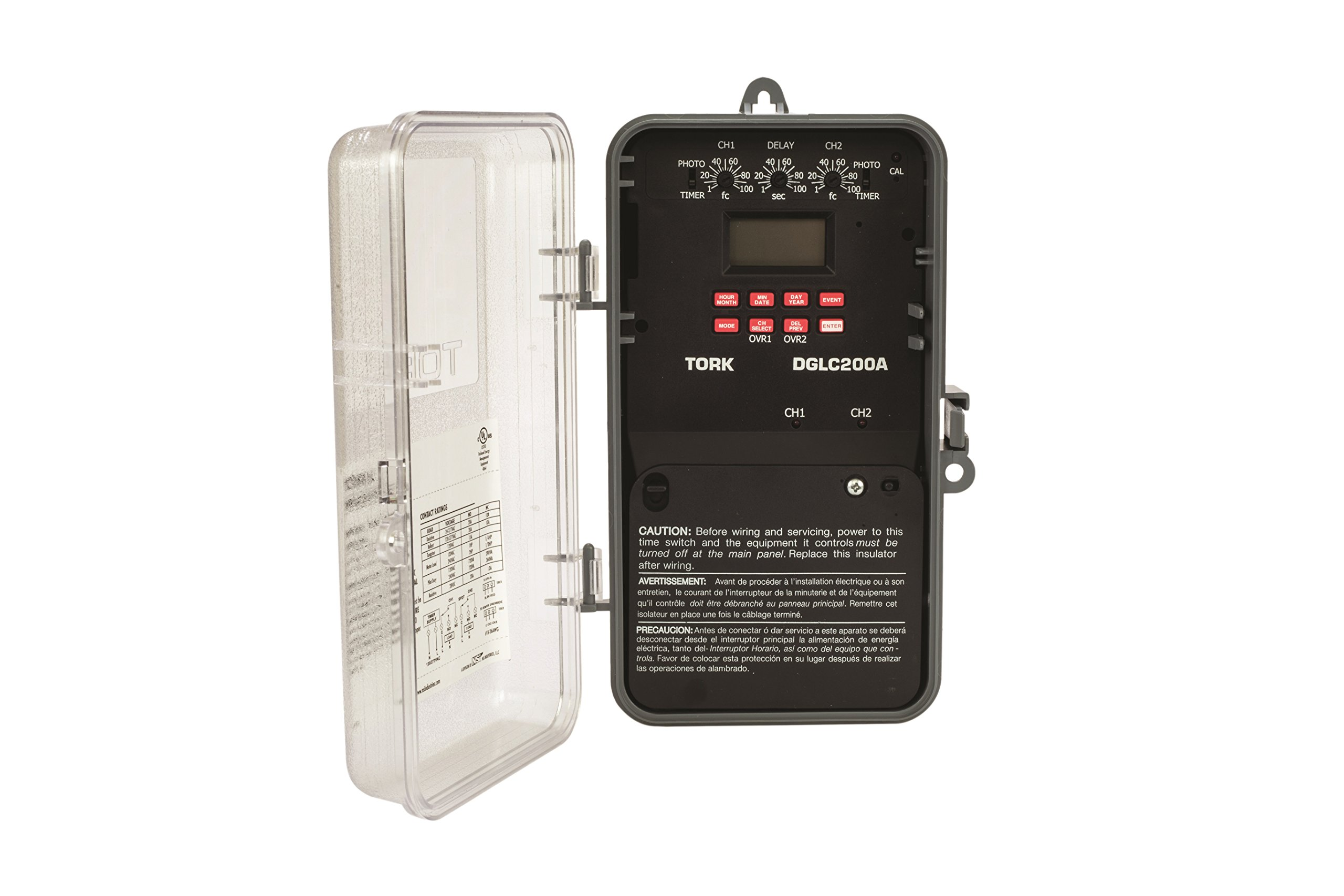 DGLC Series Lighting Control with Photo/Override Input Control Time Switch, Noryl Indoor/Outdoor NEMA 3R with Clear Lexan Cover, 120-277 VAC 50/60 Hz Input Supply, SPDT Output Contact