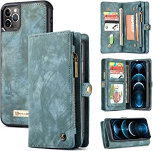 Zttopo Wallet case Compatible with iPhone 12 Pro Max, 2 in 1 Leather Zipper Detachable Magnetic 11 Card Slots Card Slots Money Pocket Cover with Screen Protector Case Wallet 6.7 Inch (Blue-Green)