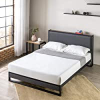 Zinus Double Bed Frame with Fabric Headboard Shelf - Platform Black Steel and Charcoal Grey Upholstery