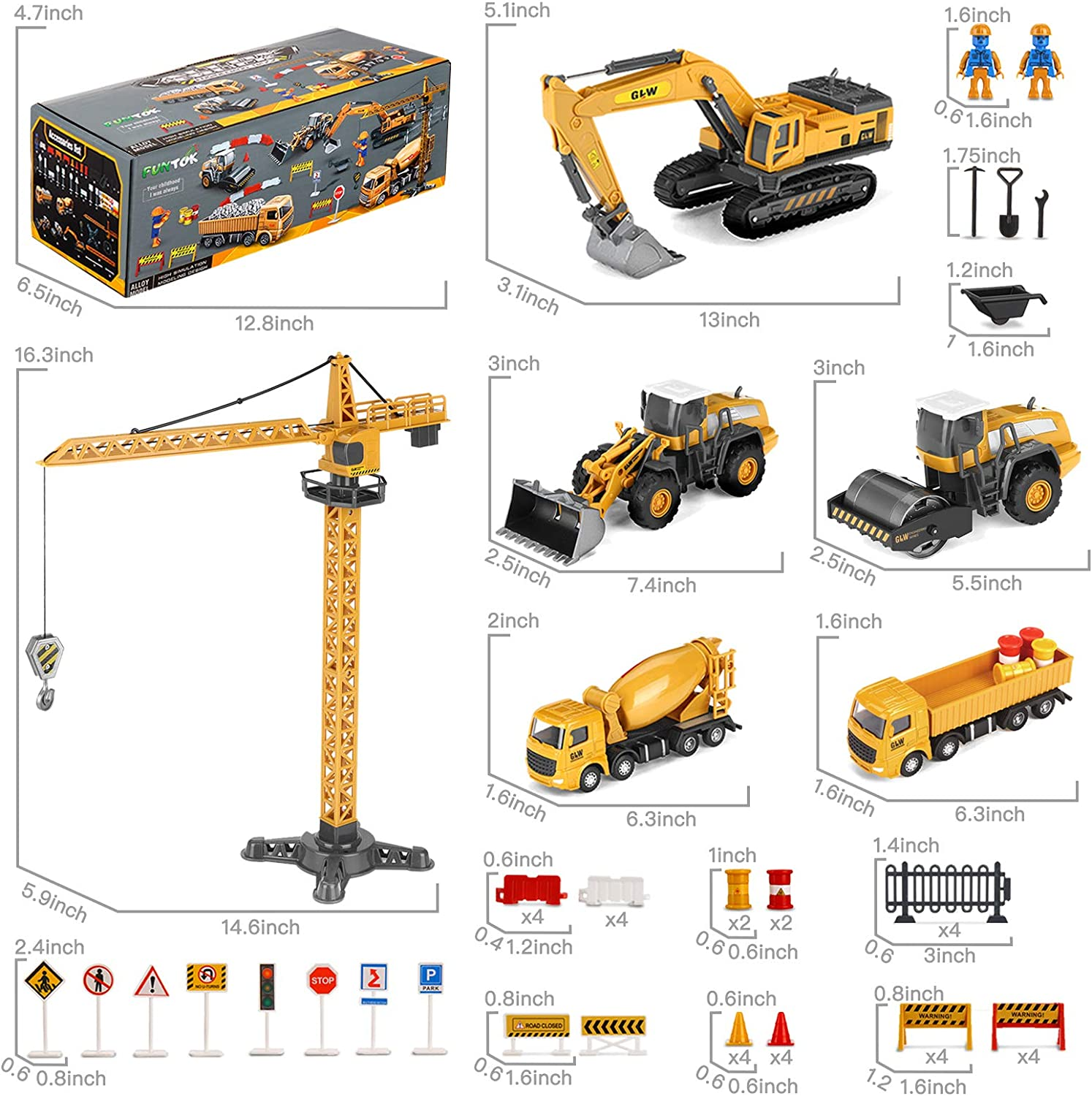 Crane Cement Kids Engineering Playset,Tractor Dump Trucks FUNTOK Construction Truck Car Toys Set Christmas Birthday Gifts for 3 4 5 6 Years Old Toddlers Boys Children Matchbox Digger Excavator