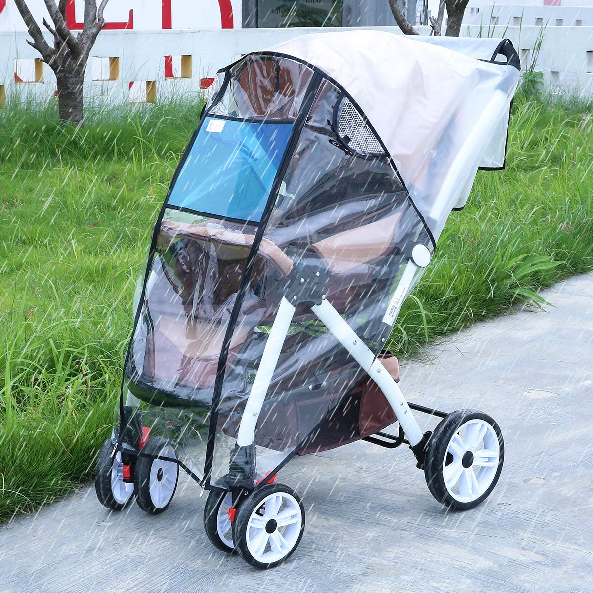 Hrzeem Stroller Rain Cover Stroller Cover Universal Baby Stroller Weather Shield with Storage Pouch EVA Clear Zip Front Opening Waterproof Windproof Protection Easy to Install for Outdoor Use (Black) by Hrzeem (Image #2)