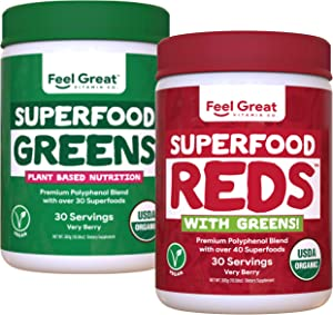 USDA Organic Red & Green Superfood Bundle   Fruit and Vegetable Supplements with Probiotics & Enzymes   Whole Food Multivitamin   Vegan, NO fillers or Binders