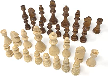 32 Piece Wood Handcrafted Carved Chess Set Wooden Game 7cm King Knight