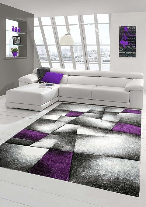 Salon Designer Tapis Contemporain Tapis Tapis à Poils avec des Diamants  Contour coupées Motif Violet Gris Blanc Noir Größe 80x150 cm