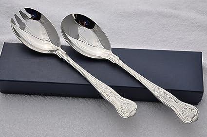 Nuevo fantástico Reyes patrón Silver Plated cubiertos para servir ensalada SHEFFIELD