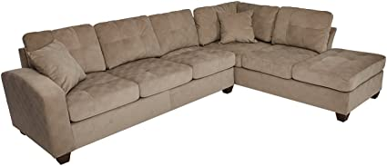 Attrayant Homelegance Sectional Sofa Polyester With Reversible Chaise And Two Toss  Pillows, Taupe