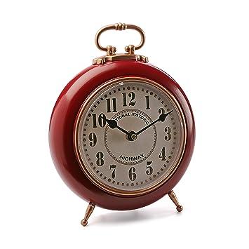 Versa 18190220 Reloj de mesa Rojo y Dorado, Ø21 cm diámetro, Vintage, Metal