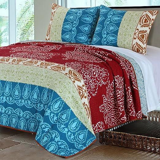 BEAUTIFUL MODERN VINTAGE CHIC GLOBAL MOROCCAN RED TEAL AQUA BLUE SOFT QUILT SET