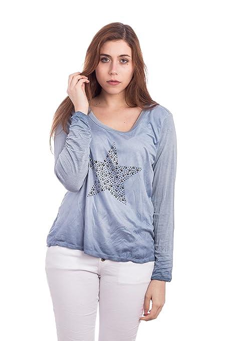 Abbino 12968-1 Camisas Blusas Tops para Müjer - Hecho en ITALIA - 4 Colores - Verano Otoño Primavera Mujeres Elegantes Formales Manga Larga Casual Vintage ...