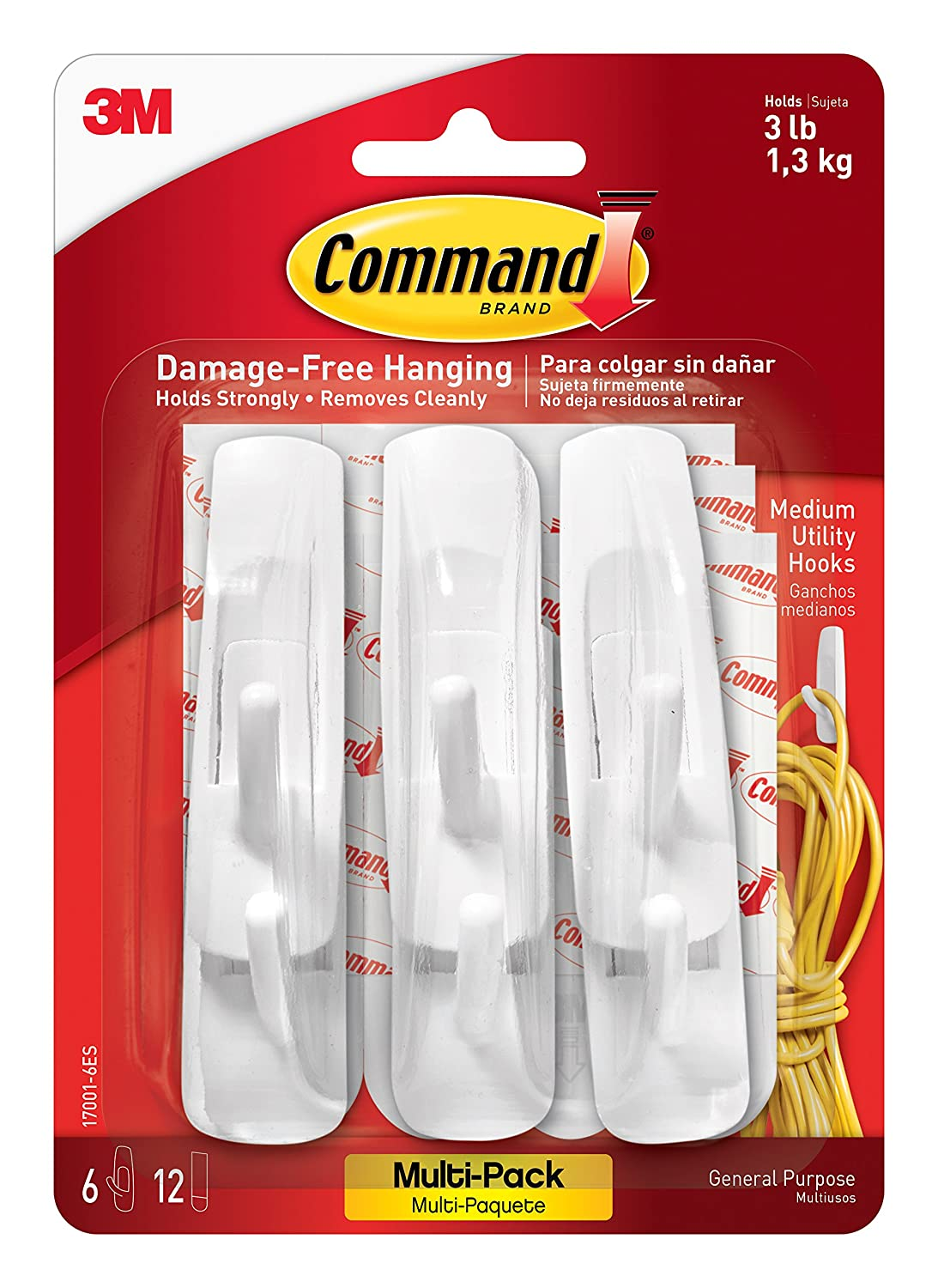 amazon com command utility hooks value pack medium white 6