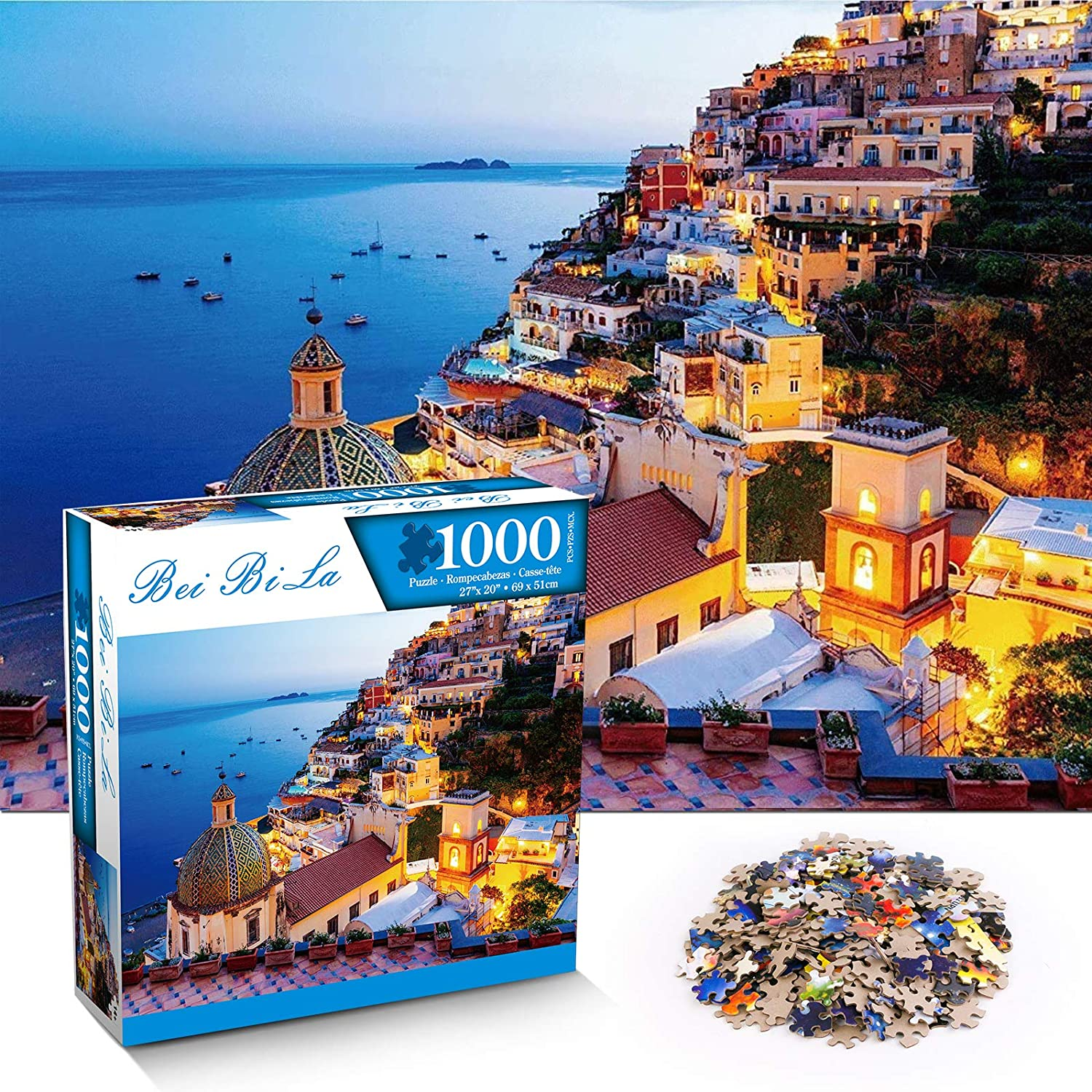 "BOPOREA 1000 Piece Puzzle,Jigsaw Puzzles for Adults Puzzle Lovers&Challenger,Puzzle Game 18.9"" x 26.8"",Puzzle Game Artwork for Adults Teens and Kids 1000 Piece(Almafi Coast)"