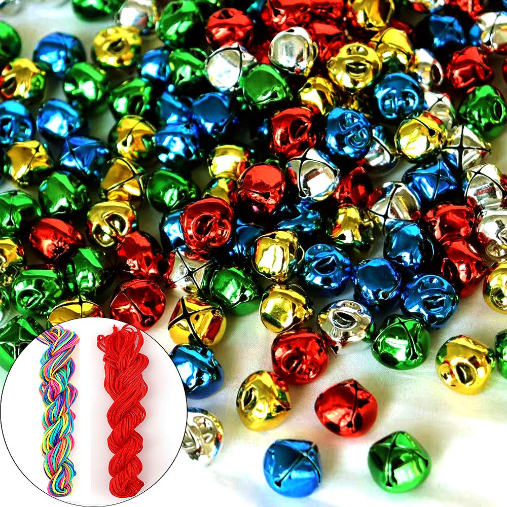 Christmas /& Party /& Festival Decorations 300Pack Jingle Bell Mini Jingle Bell Colored Craft/ Small Bell with Cord for DIY Making