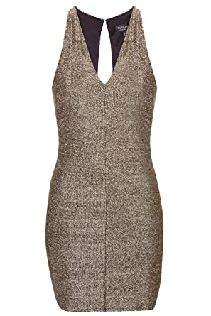 TOPSHOP Chainmail Bodycon V Neck Low Cut Dress Gilter Shinny Lame Gold UK 16