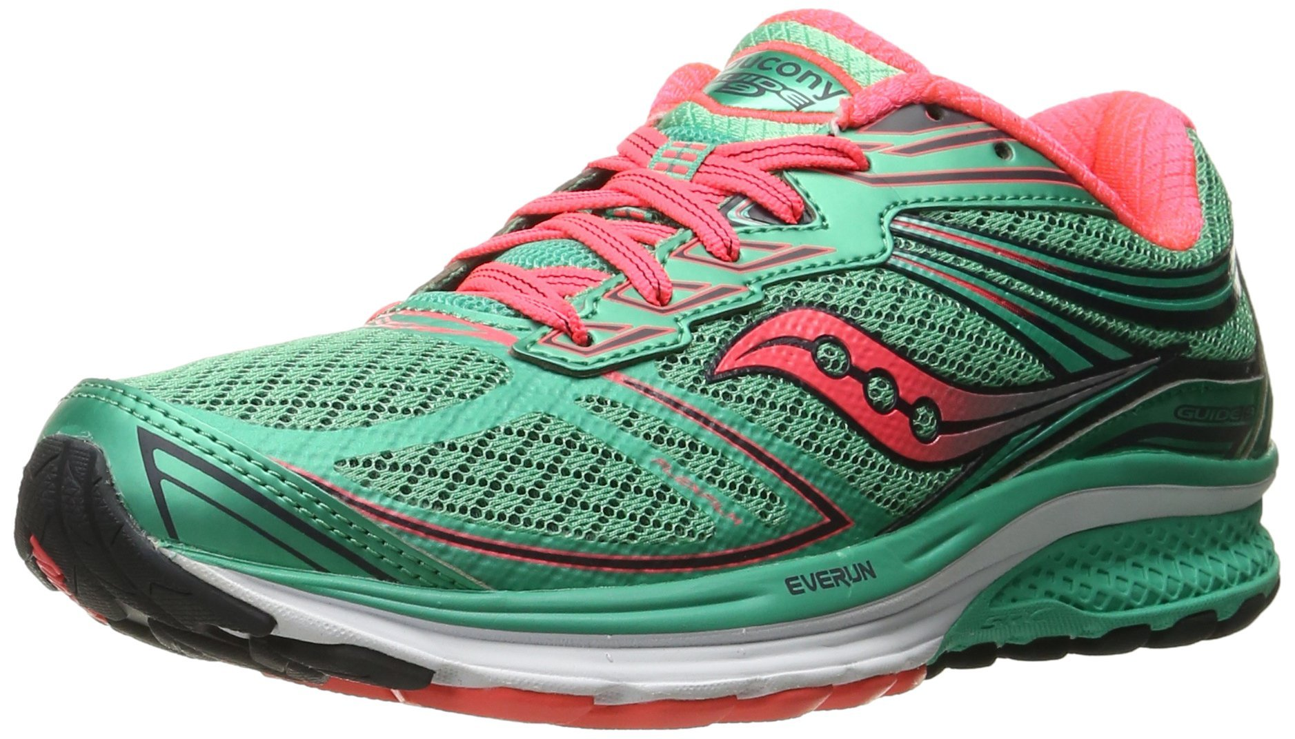 Saucony Women's Guide 9 Running Shoe, Teal/Coral, 10 M US
