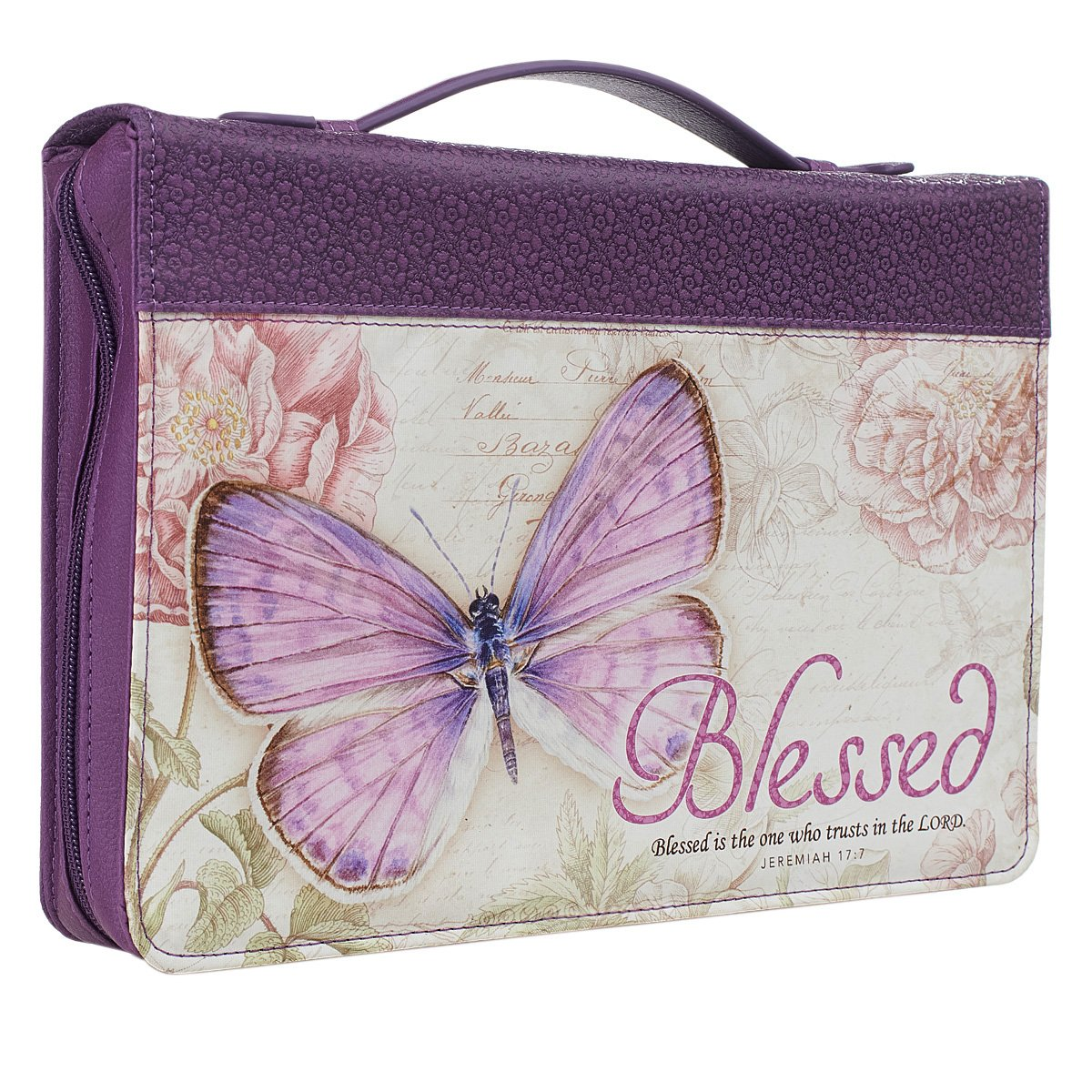Purple Botanic Butterfly Blessings ''Blessed'' Bible / Book Cover - Jeremiah 17:7 (Medium)