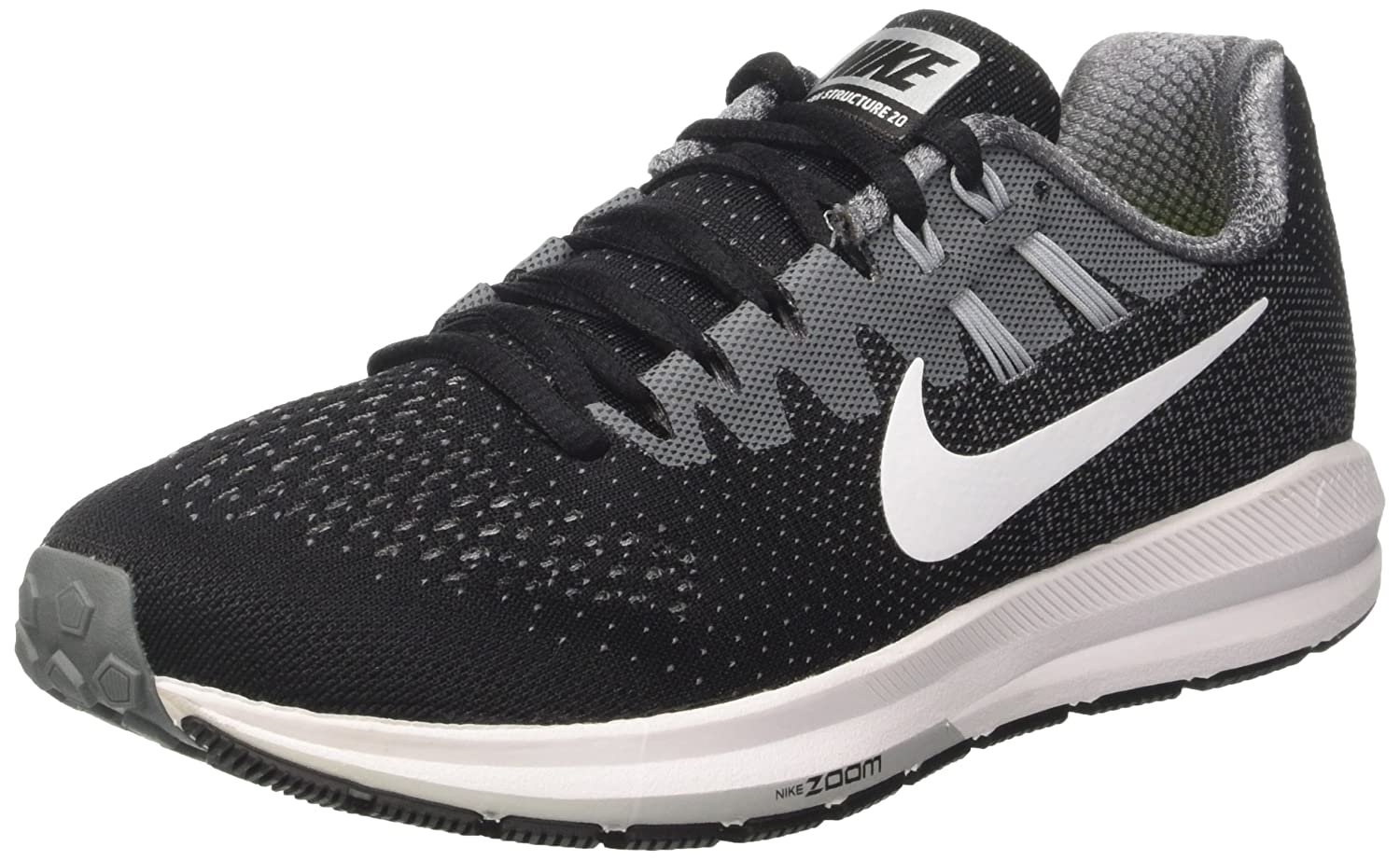 NIKE Womens Air Zoom Structure 20 Lightweight Fitness Running Shoes B01LRQ131A 11.5 B(M) US|Black/White-cool Grey-pure Platinum