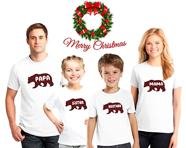 bb29fa6f06c4 Amazon.com  Bear Personalized Christmas Family Pajama Matching Plaid Bear  Shirts
