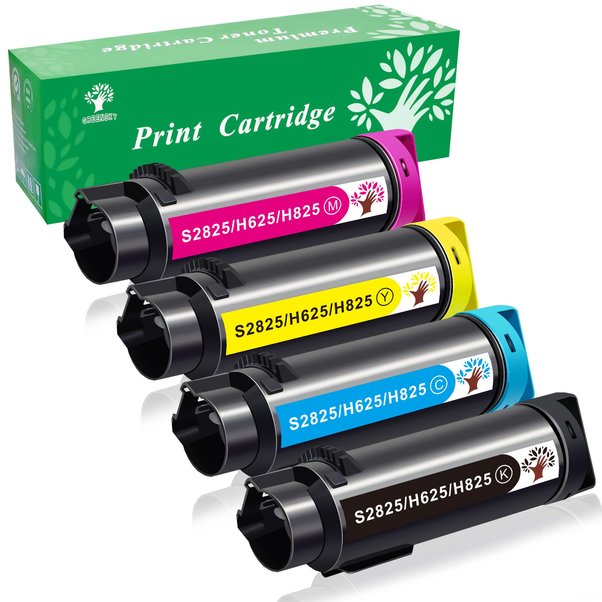 GREENSKY 4 Pack Compatible Toner Cartridge(593-BBOW-593-BBOX-593-BBOY-593-BBOZ) for Dell LaserJet Printers H625 cdw H825cdw S2825cdn printer High Yield 3000 pages & 2500 pages