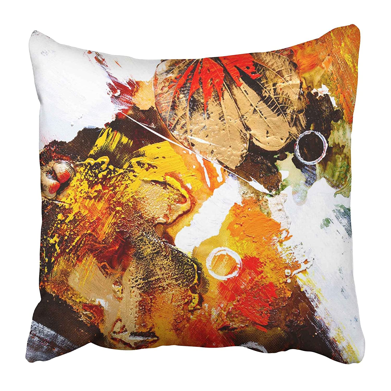 Emvency 装飾用クッションカバー オレンジ 抽象画 油絵 抽象画 カラフル モダン ブラシ 幾何学模様 芸術的 ブラック ブラウン16x16インチ 枕カバー クッションカバー 両面 B07GCJ2N95