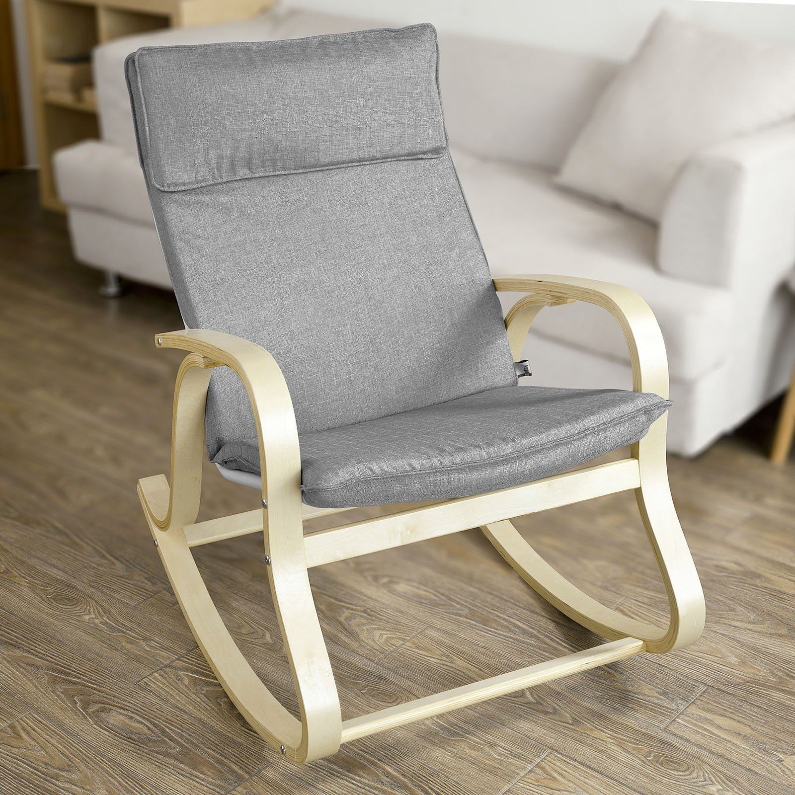 Haotian FST15-DG, Comfortable Relax Rocking Chair, Lounge Chair Relax Chair with Cotton Fabric Cushion by Haotian