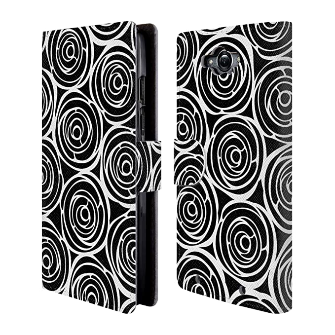Official Julia Grifol Roses Black and White Leather Book Wallet Case Cover for Motorola Droid Turbo