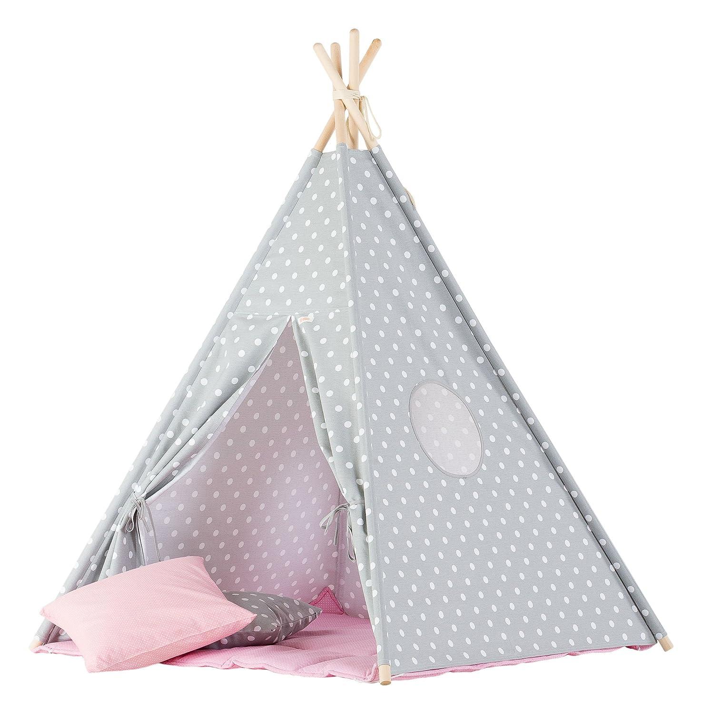 wigiwama Teepee Dots grau mit pink Matte