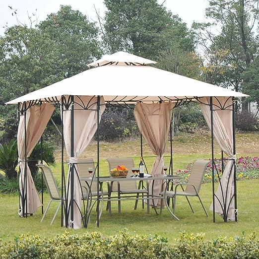 Outsunny Carpa Pabellón Gazebo de Jardín con Estructura de Metal 3x3m Cenador Color Beige con Techo Transpirable y Cortinas: Amazon.es: Hogar