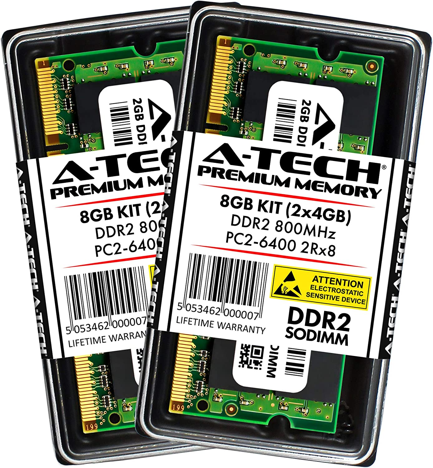 A-Tech 8GB Kit (2x4GB) Max RAM for Dell Inspiron 1440, 1545, 1546, 1750, Zino HD 400 - DDR2 800Mhz PC2-6400 SODIMM Max Memory Upgrade