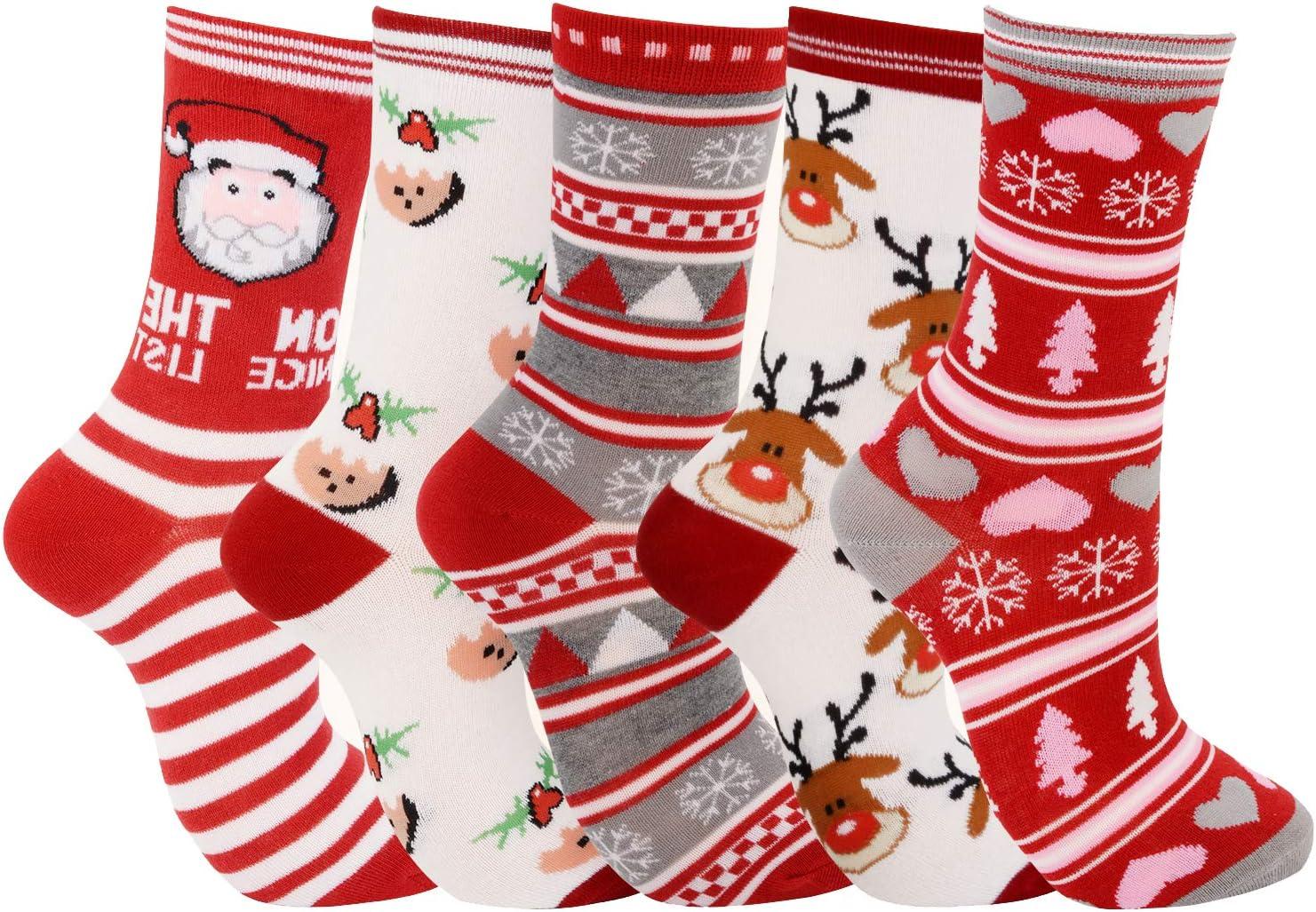 Legendog 5 Pares de Calcetines navideños de Moda Estilo de Dibujos Animados Lindo Calcetines de algodón Suave Calcetines de equipoRegalo de Navidad