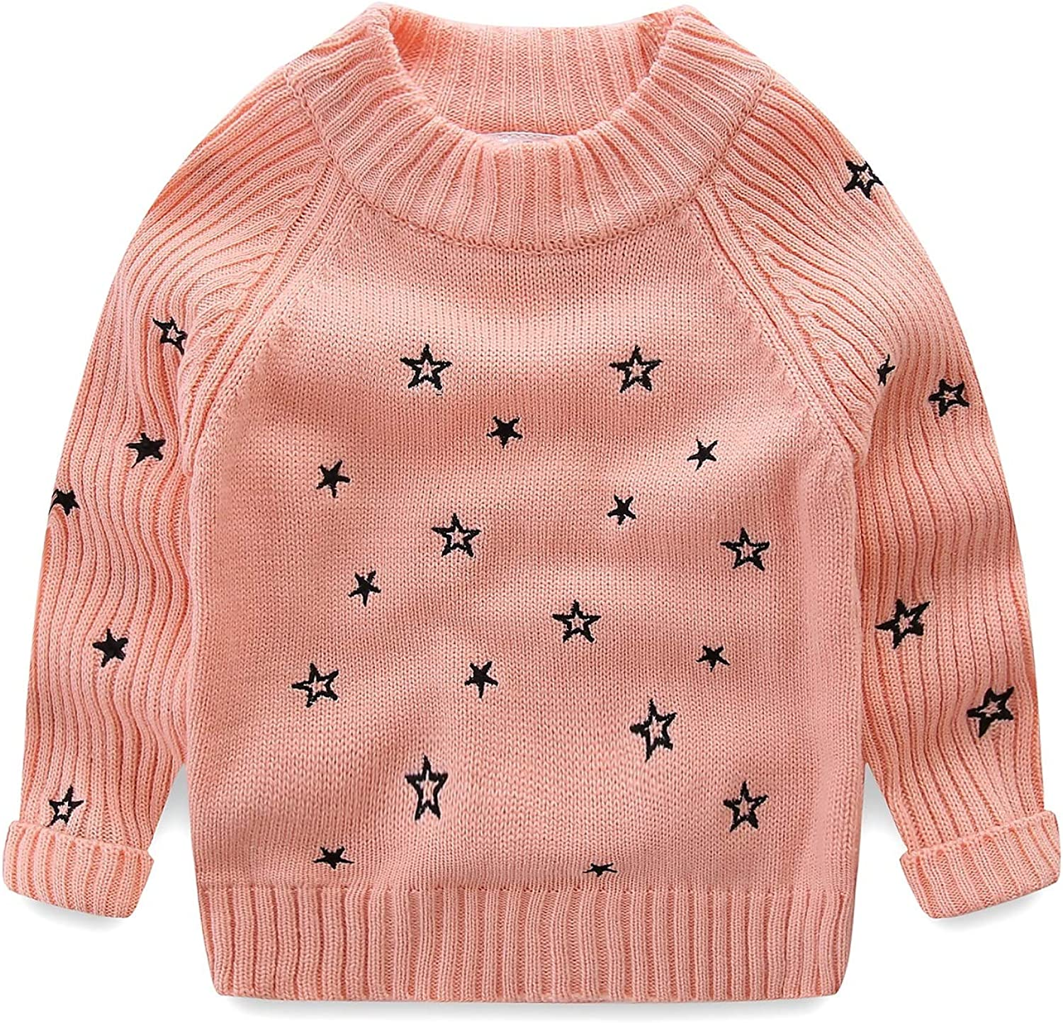 Mud Kingdom Toddler Girls Pullover Sweaters Cute Embroidered Stars