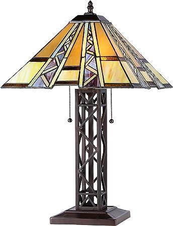 Chloe Lighting Ch33226mi14 Tl2 Progressive Tiffany Style Mission 2 Light Table Lamp 14 Shade Tiffany Style Table Lamps Amazon Com
