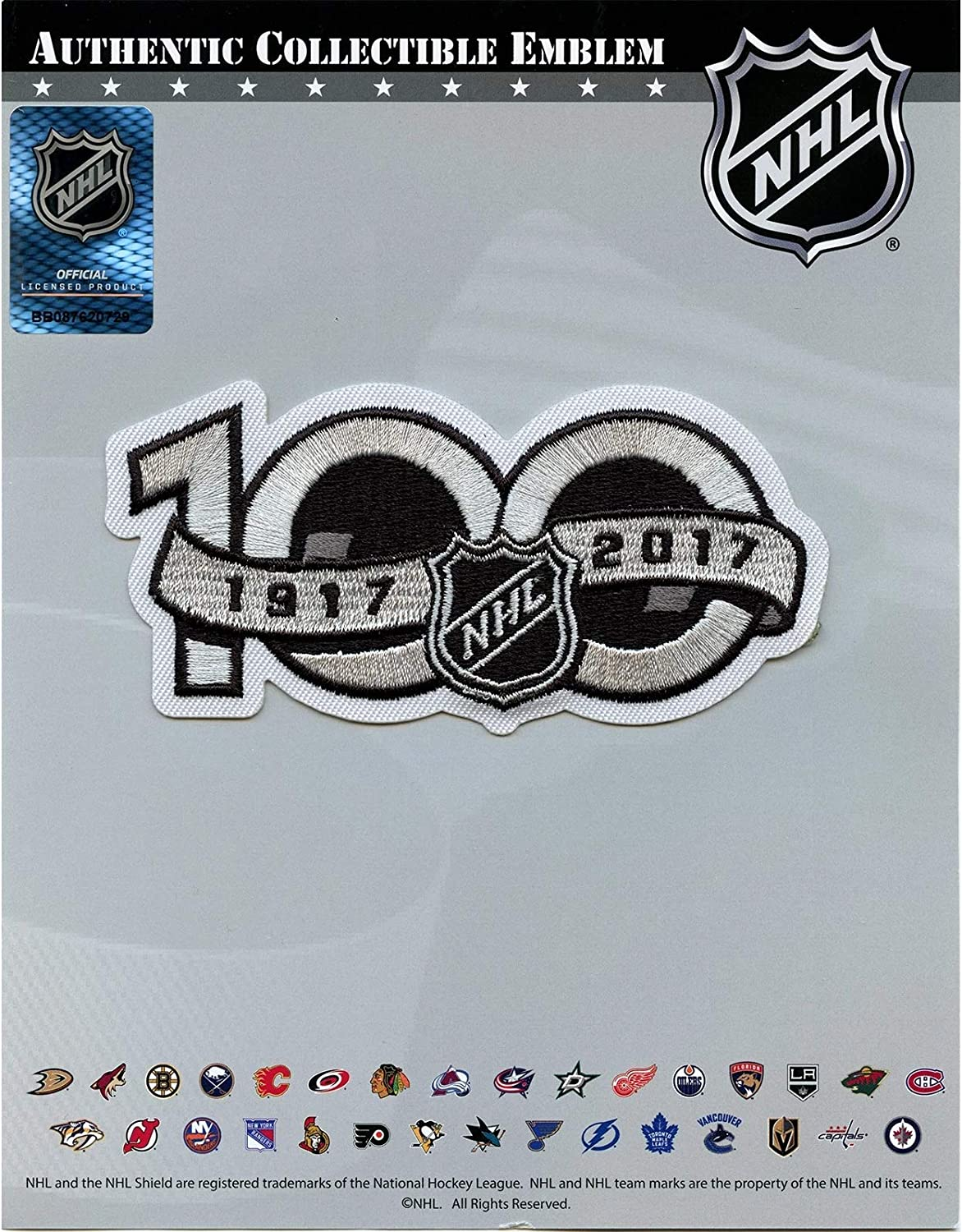 Amazon Com National Hockey League Nhl 100th Anniversary Patch Jersey Sleeve Logo Embroidered Iron On Clothing