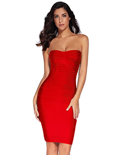 Meilun Women's Strapless Bandage Dress Cocktail Bodycon Dress