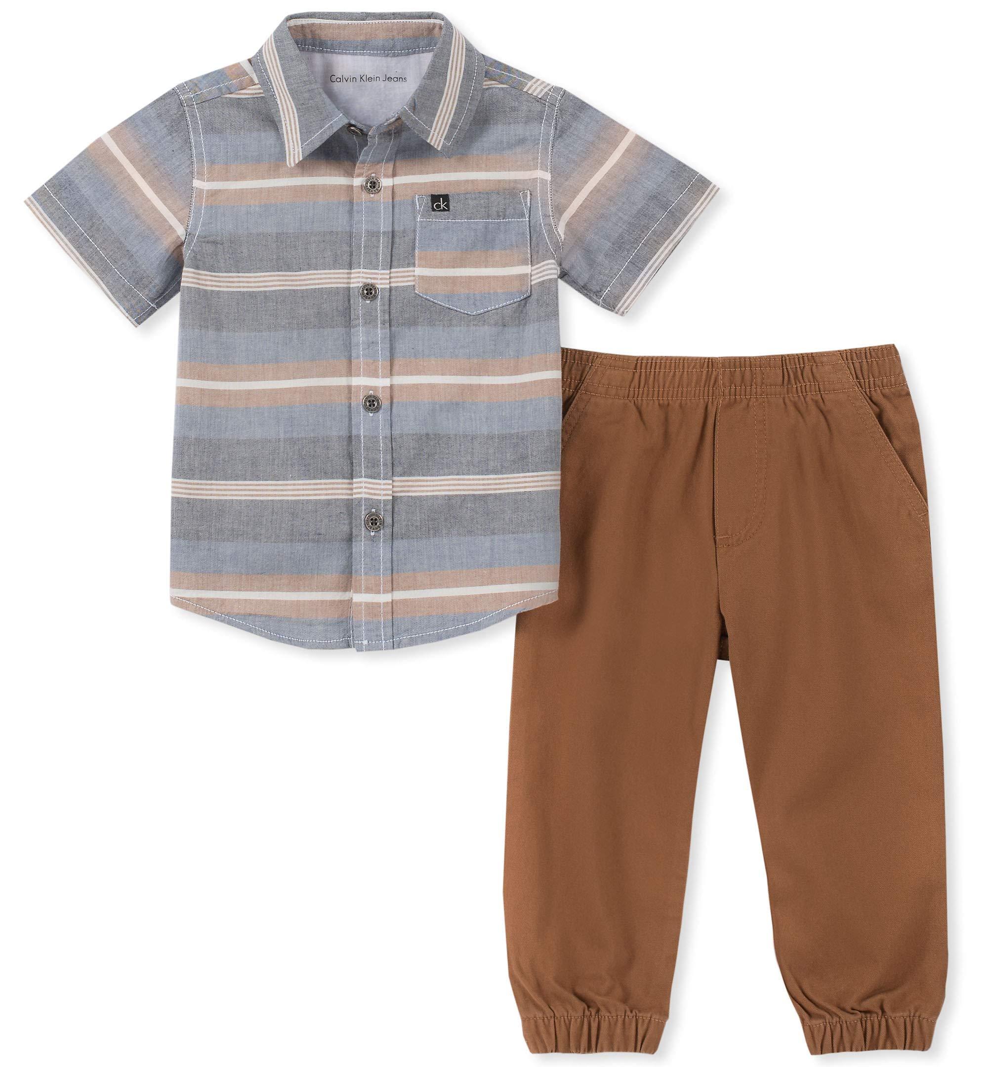 Calvin Klein Boys' Little 2 Pieces Shirt Pant Set-Short Sleeves, Gray/Khaki, 4