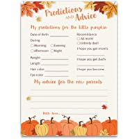PUMPKINS Prediction and Advice Cards - Pack of 25 - LITTLE PUMPKIN Baby Shower Games, New Parents, Mom & Dad to be…