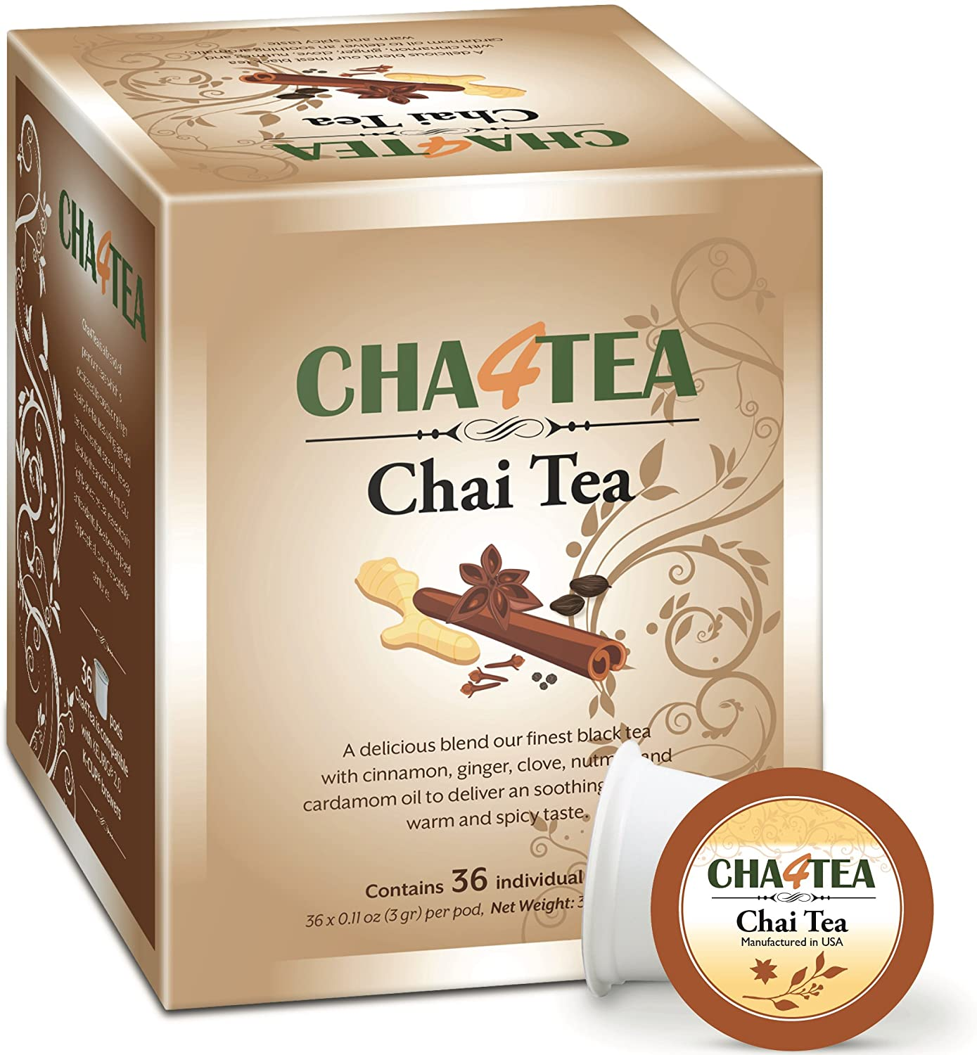 Cha4TEA 36-Count Chai Black Tea Pods for Keurig K-Cup Brewers